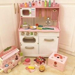 الفتيات تلعب كل مجموعة أدوات المطبخ للأطفال أواني الطبخ الخشبية رياض الأطفال هدية طفل وردي جميل