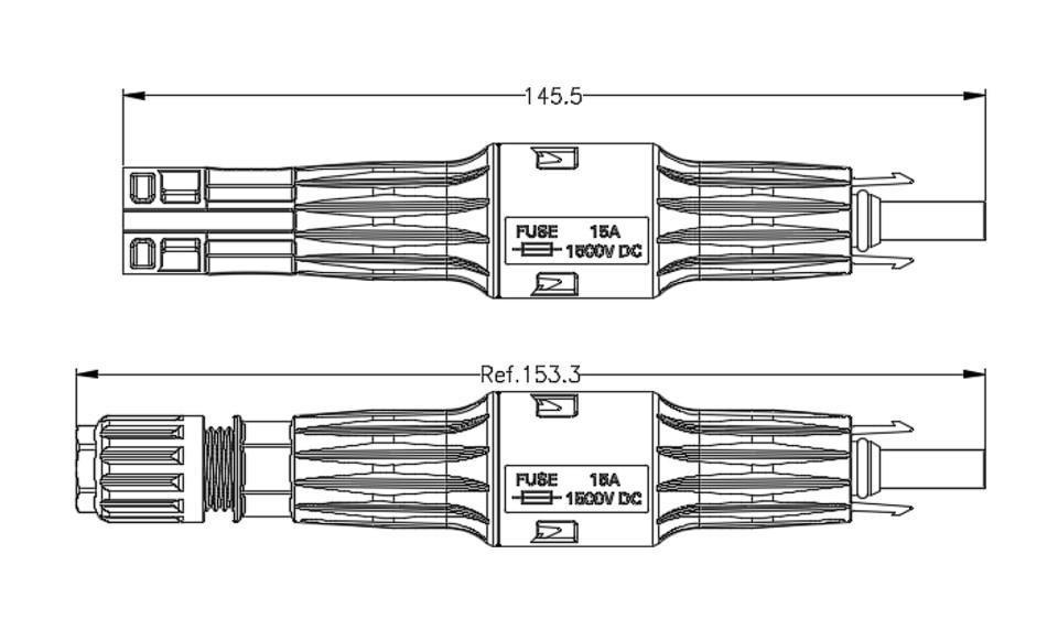 Conector 15A mp 1500 V DC Fio
