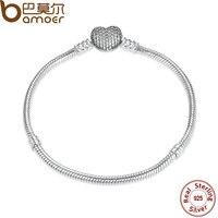 BAMOER Authentic 925 Sterling Silver Love Heart Chain Snake Bracelet Bangle 17CM 18CM 19CM 20CM Jewelry