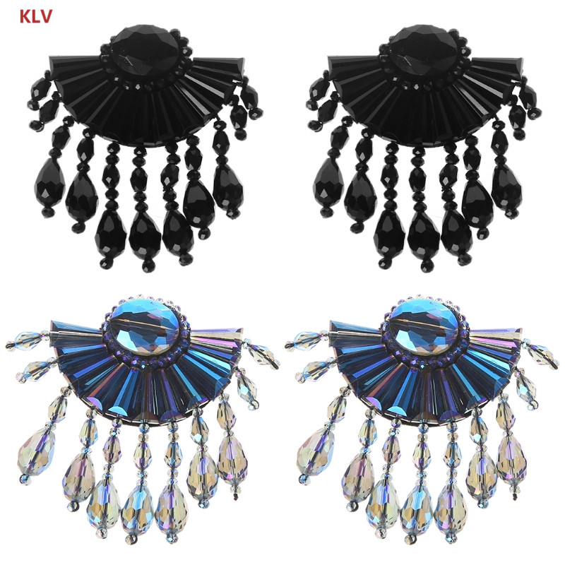 KLV 2Pcs Shoes Clip Faux Crystal Beaded Patches Clothes Sewing Applique Shoe Bag DIY Shoe Decoration new manual shoe making sewing machine