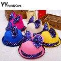 Lindo! niña sol del verano sombreros moda Minnie marca Cap nuevos Sombrero de Paja con los niños del arco grande casquillo de la playa Sombrero de Paja Chica YY0141