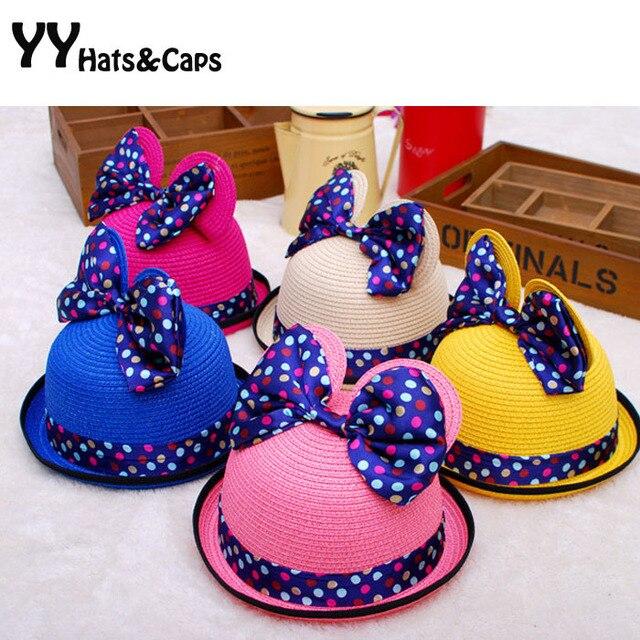 Lindo! niña sol del verano sombreros moda Minnie marca Cap nuevos Sombrero  de Paja con 5b05f40bfd5