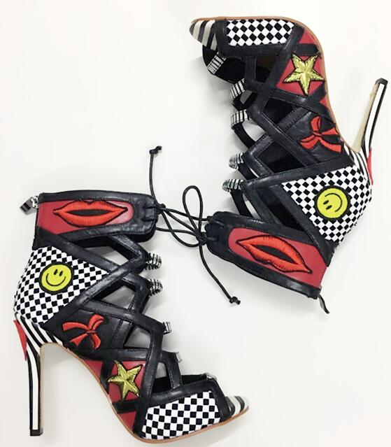 2018 Newest Polka Dots Stiletto Boots Women Lace Up Ankle Boot Hot Mixed Colors Badge Club Shoes Ladies Peep Toe High Heel Boots