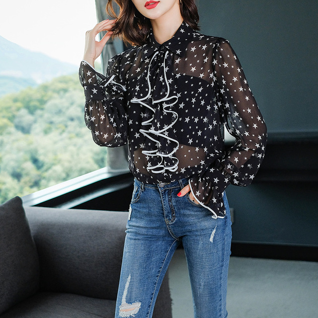 New Spring 2019 Fashion Casual Transparent Printed Silk Stars Printing Ruffles Shirts and Blouses Women Luxury 100% Silk Tops