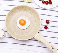 Medical stone Japanese style whitle pan non stick frying skillet cooker gas frying egg roasting steak pancake pot 24cm glass lid