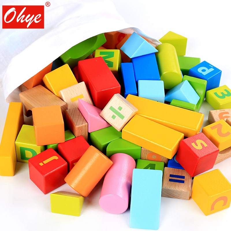 ohye baby toys wood letter blocks 96pcs beech children early education toys math learning figure blocks in blocks from toys hobbies on aliexpresscom