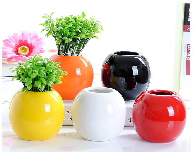 Traditional Chinese Style Modern Round Ceramic Flower Pots Planters