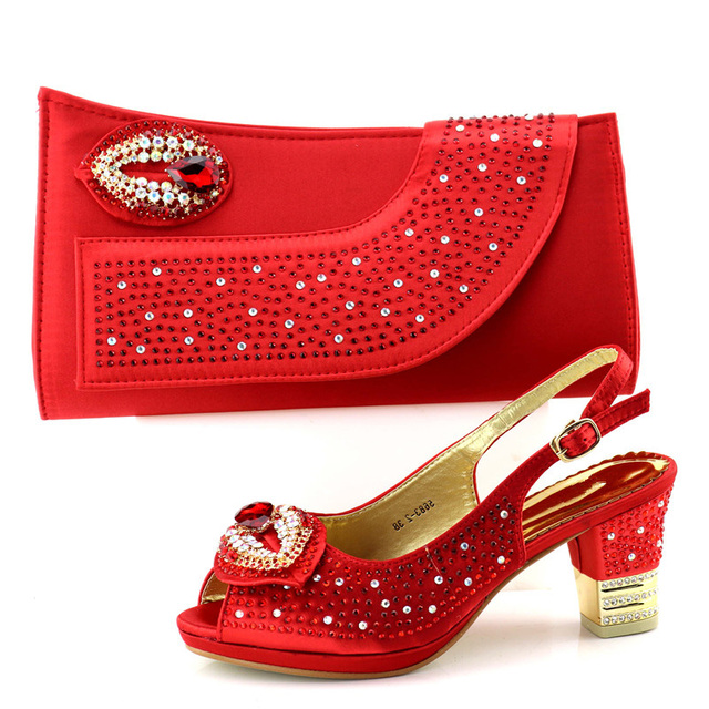African aso ebi shoe and bag red color elegant sandal and clutches bag with  stones hot sexy lips stones shoes and bag SB8208-2 e28da1b6fd09