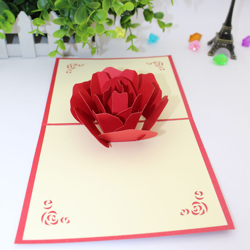 Us 5 88 3d Red Rose Wedding Invitation Card Three Dimensional Anniversary Greeting Card 3d Pop Up Card Special Marriage Greeting Card In Cards