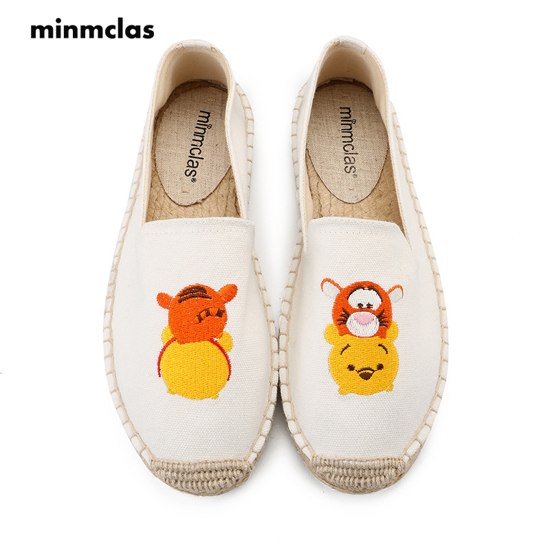 Minmclas Slippers Fashion Alpargatas Comfortable Womens Espadrilles Shoes Breathable Flax Hemp Canvas for Girls