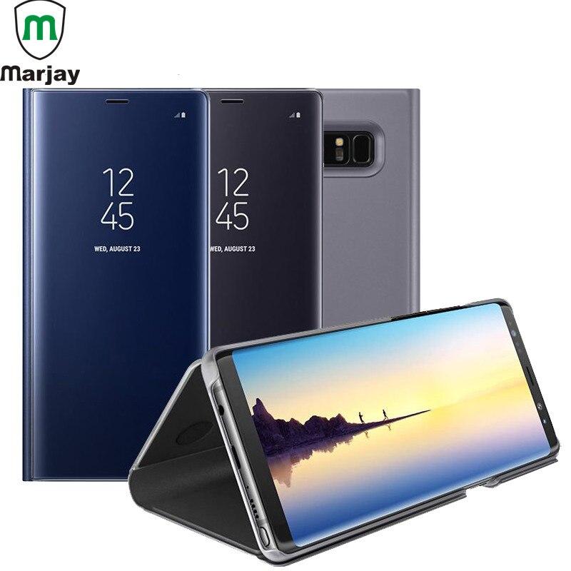 Marjay Clear View зеркало Smart Case для samsung Galaxy Note 9 8 S9 S8 S7 S6 Edge Plus J3 J5 j7 ЕС A3 A5 A7 2017 флип чехол подставка