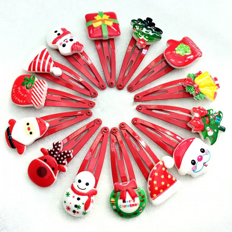 10pcs/set 2017 New High Quality Christmas Hairpin Santa Socks Christmas Tree Sweet Cute Women Girl Hair Clip Child Holiday Gift halloween party zombie skull skeleton hand bone claw hairpin punk hair clip for women girl hair accessories headwear 1 pcs