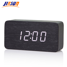Clock Big Numbers Led-Thermometer Voice-Table Wood Bamboo Digital KSW103