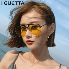 iGUETTA Oval Luxury Sunglasses Women Brand Designer Lady Ret