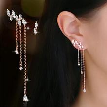 Drop Shipping 925 Sterling Silver Earrings Charming Cubic Zirconia CZ Brilliant classic Asymmetric tassels CZ diamonds Woman's