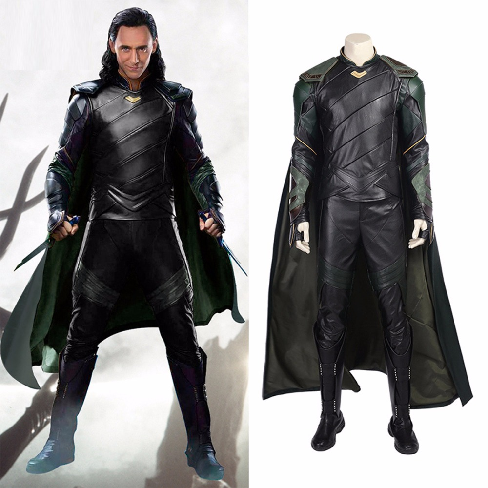 Hot Movie Thor 3 Ragnarok Dark World Loki Cosplay Costume Adult Halloween Carnival Costume for Men Outfit ...