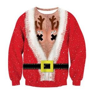 Image 5 - Alisister מכוער חג המולד סווטשירט סנטה קלאוס הדפסת Loose קפוצ ון גברים נשים סוודר חג המולד חידוש סתיו החורף למעלה