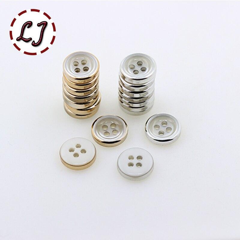 ①Envío libre 30 unids/lote oro plata 4 agujeros de botón redondo ...