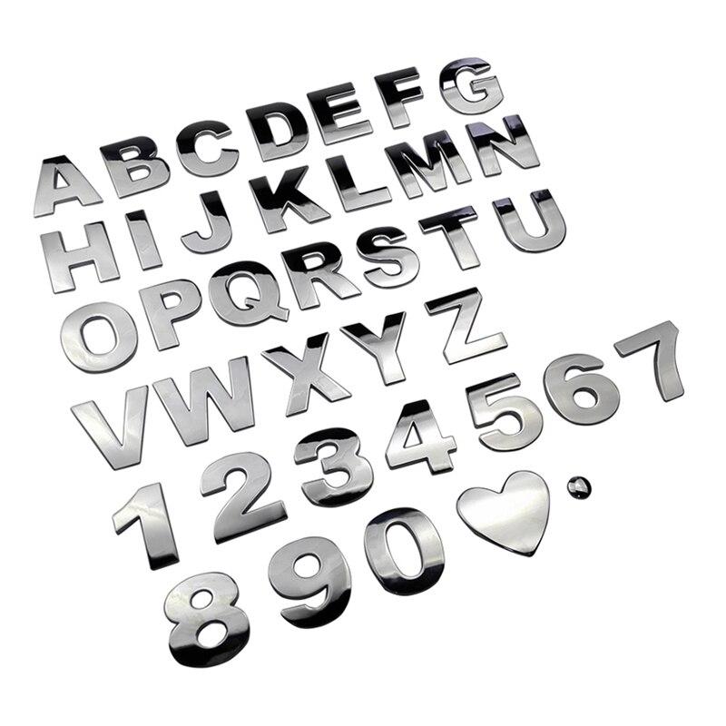 Metal DIY English Letter Car Stickers Decals Badge Logo Emblem For VW Hyundai Lexus Mazda Nissan Opel Renault Subaru Skoda Volvo