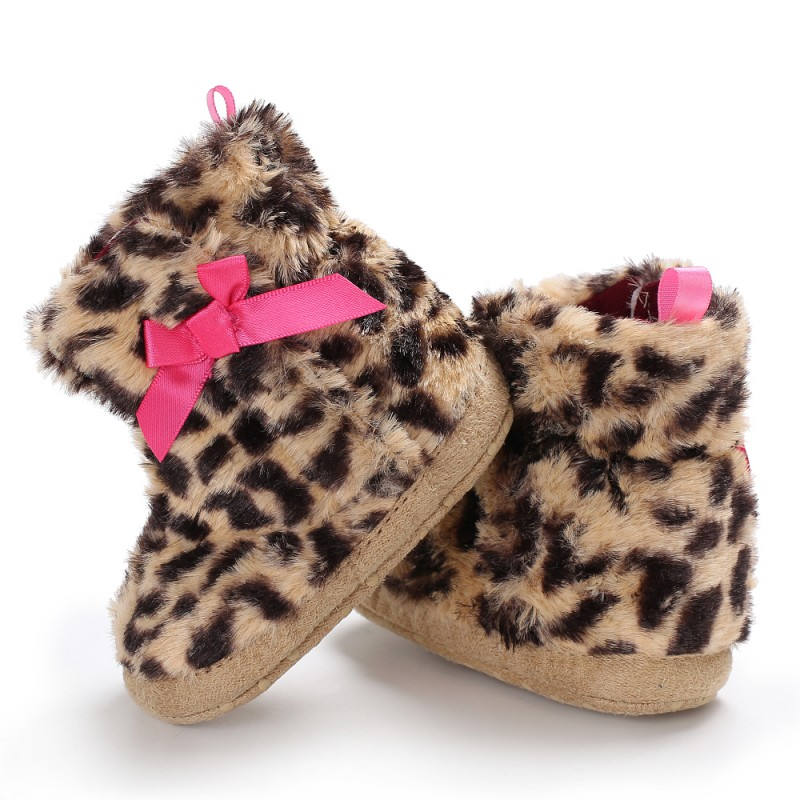 Baby Shoes Winter Newborn Boots Shoes Leopard Cute Bow Non-slip Baby Boots First Walkers New