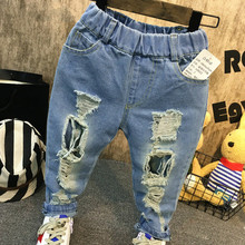 2019 new fashion baby boy hole jeans trousers kids cotton denim long for children