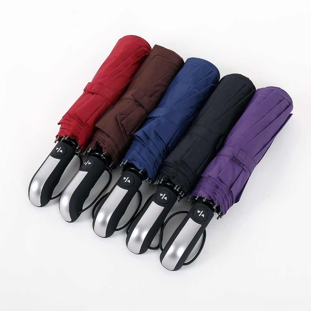 Jesse Kamm Новый полностью автоматический Три складной мужской коммерческий компактный большой сильный каркас ветрозащитный 10 ребра нежные черные зонтики