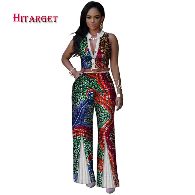 a0002aad27 dashiki African Print Women Colthes V-Neck Sleeveless Summer Sexy Romper  Wide Leg Pants African Ladies Jumpsuits Rompers WY2875