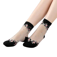 Hot Womens Socks Summer Lace Thin Short Roses Flower 1Pair New Transparent Cotton Fashion Crystal Glass Silk Korean