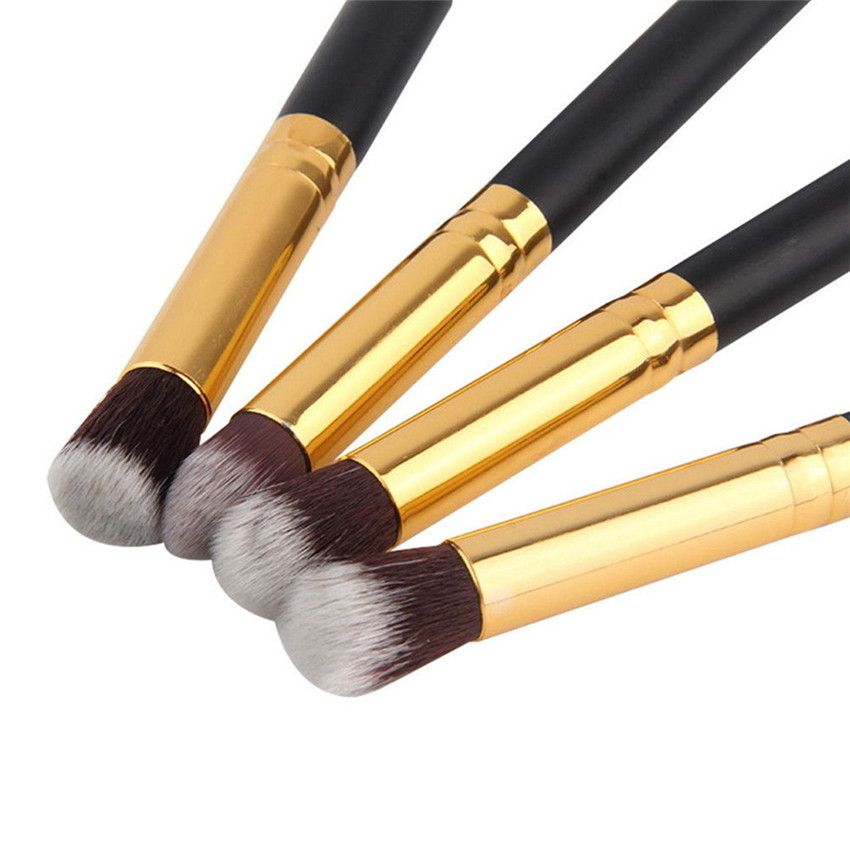 Image 4 - SAIANTTH 4pcs eyes brushes set makeup black gold long thin eyeliner eyeshadow brush kit maquiagem protable beauty tool Masca-in Eye Shadow Applicator from Beauty & Health