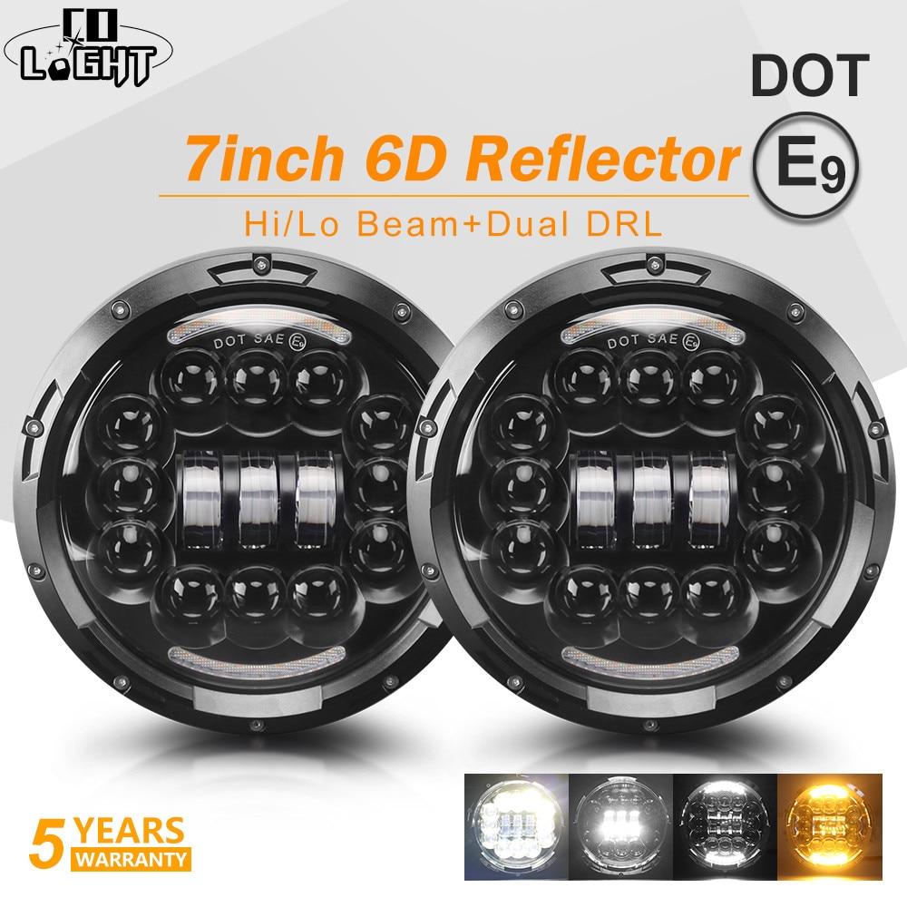 Со светом 6D 7 дюймов светодио дный фар 135 Вт DRL угол глаза Здравствуйте низкая поворотов дальнего света светодио дный фары 12 В для Jeep Wrangler Лада...