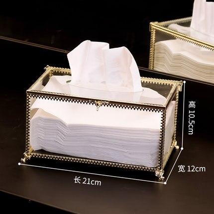 Европейская прямоугольная стеклянная металлическая коробка для ткани гостиной дома обеденного стола отеля KTV бумажная коробка для хранения полотенец декоративные аксессуары - Цвет: C
