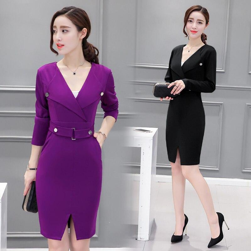 2016 Autumn Sexy Deep V neck Tight Pencil Dresses Commute Pockets Work Wear Fashion Elegant Black