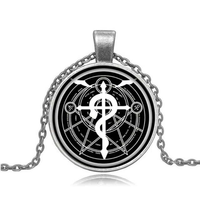 Anime Fullmetal Alchemist Edward Silver Color Pocket Watch with Glass Dome Necklace Pendant Cosplay Costume Props