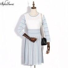 2017 Summer Dress Women Striped Office Lady Dresses Knitted Elegant Slimt Fit Women O neck Vestido