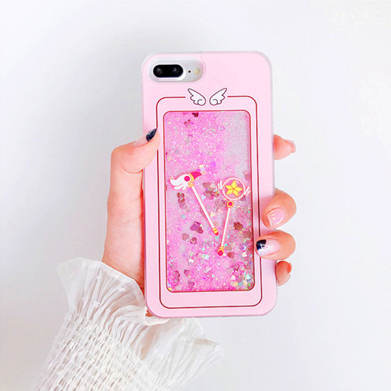 GlamPhoneCase Cell Phone Case For iphone 7 8plus 6 6S 7 Plus Clear Pink Dynamic Liquid Glitter Quicksand Sailor Moon Magic Staf