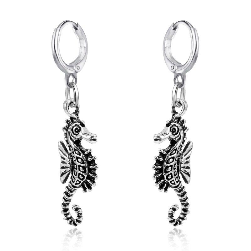 1 Pair Antique Silber Frauen Hoop Ohrringe Kleine Ohrringe Kawaii Seahorse Hängende Tier Schmuck Weibliche Ohrringe Pendientes E82 Mit Den Modernsten GeräTen Und Techniken