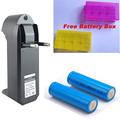 3.7V 18650 6800mAh Rechargeable Battery +18650 chager for LED Flashlight 2*18650 batteyr +charger