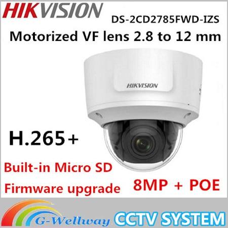Hikvision DS-2CD2785FWD-IZS 8MP H.265+ WDR Vari-focal Security IP Camera Dome CCTV Network Camera 2.8-12mm Face Detection IP67 видеокамера ip hikvision ds 2cd2642fwd izs цветная