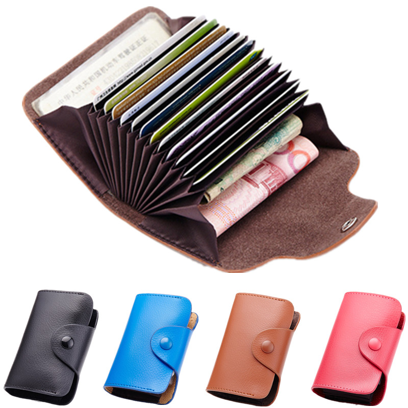Men Business Leather Credit Card Holders Women ID Bank Card Cover For Documents Purse 12 Bits Card Case Organizer Passport Bag victor 6050 digital clamp meter