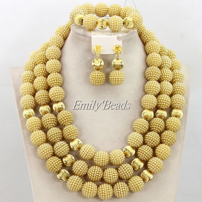 Elegant Champagne Gold Nigerian African Wedding Beads Jewelry Set ...