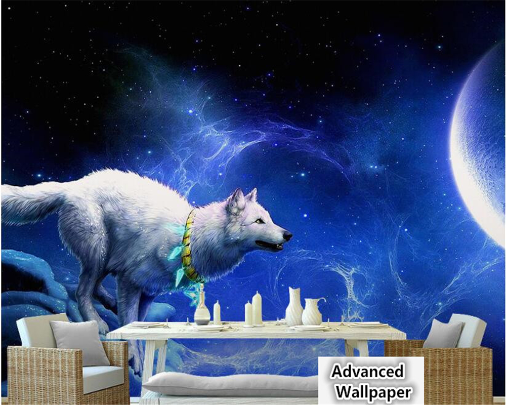 US $8 85 OFF Beibehang White Wolf Necklace Moon Crescent Dream Aesthetic KTV Tooling Landscape Background Papel De Parede 3d Wallpaper Behang 3d