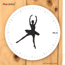 12 inch Creating White Living Room Ballet Dancing Wall Clock Modern Nordic Home Decor Clock Round Silent Quartz Wooden Art Watch creating home design for living