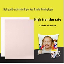 100 Sheets A4 Sublimation Heat Transfer Paper for Polyester Cotton T-Shirt Cushion Fabrics Cloth Phone Case Printing Design