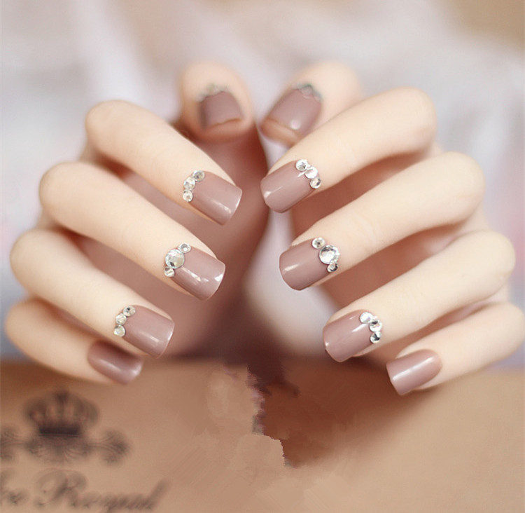 24pcs 3d Fake Nails Acrylic Nail Art Decoration Faux Ongles Bling Rhinestone Short Style For Lady Full Tips Diy Manicure In False From Beauty