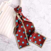 2020 Fashion Silk Skinny Scarf Women Hair Neck Scarfs Designer Dot Print Lady Hand Bag Ribbons Tie Female Headband Scarves