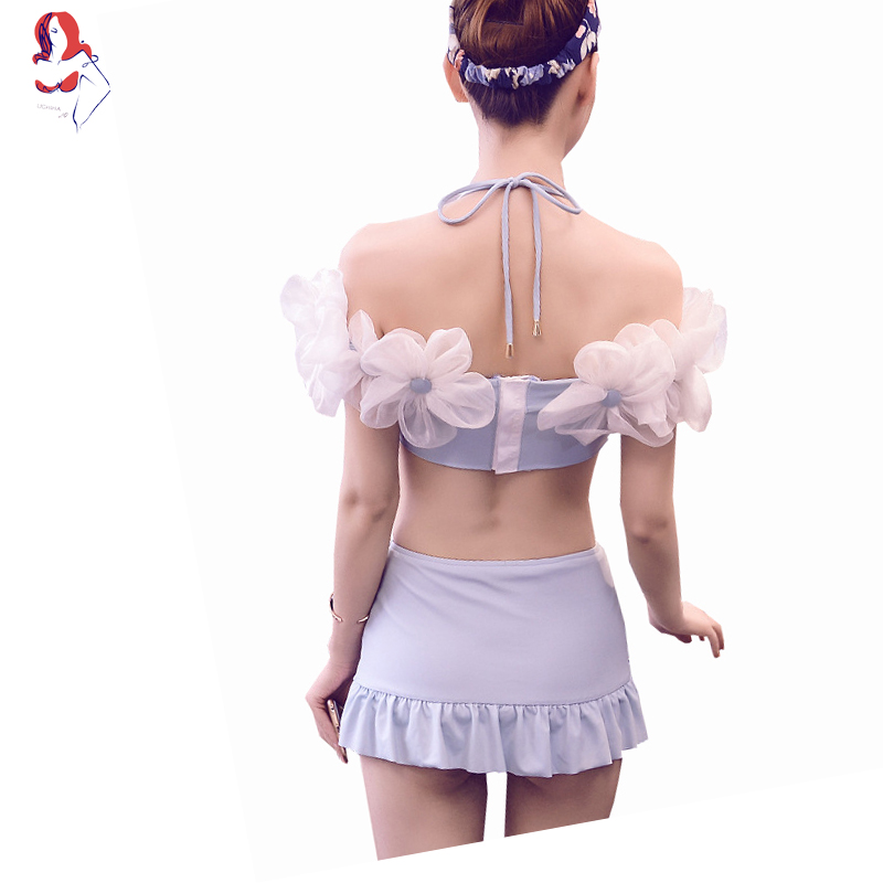 UCHIHA LQ 2 Colours Of Three-dimensional Big Flowers Handmade Floral Bikini Swimwear Woman 2017 Push Up Bra Swimsuits Solid a three dimensional embroidery of flowers trees and fruits chinese embroidery handmade art design book