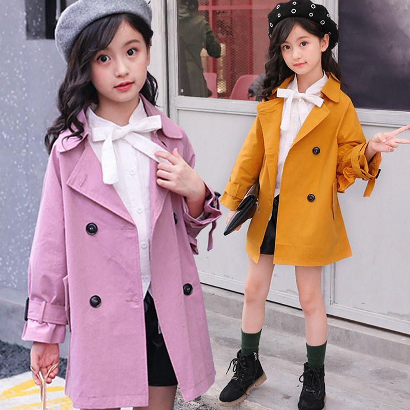 2018 Girls Trench Coat Children's Windbreaker Jackets Girls Outerwear Coats Double-breasted Kids Coats Jackets Children Overcoat girls trench coats double breasted long jackets for girls clothing children outerwear spring autumn kids windbreakers 5 7 12 15