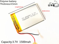Free shipping 3.7V thium polymer battery 454261 MP3 MP5 GPS Bluetooth small stereo 1500 mAh