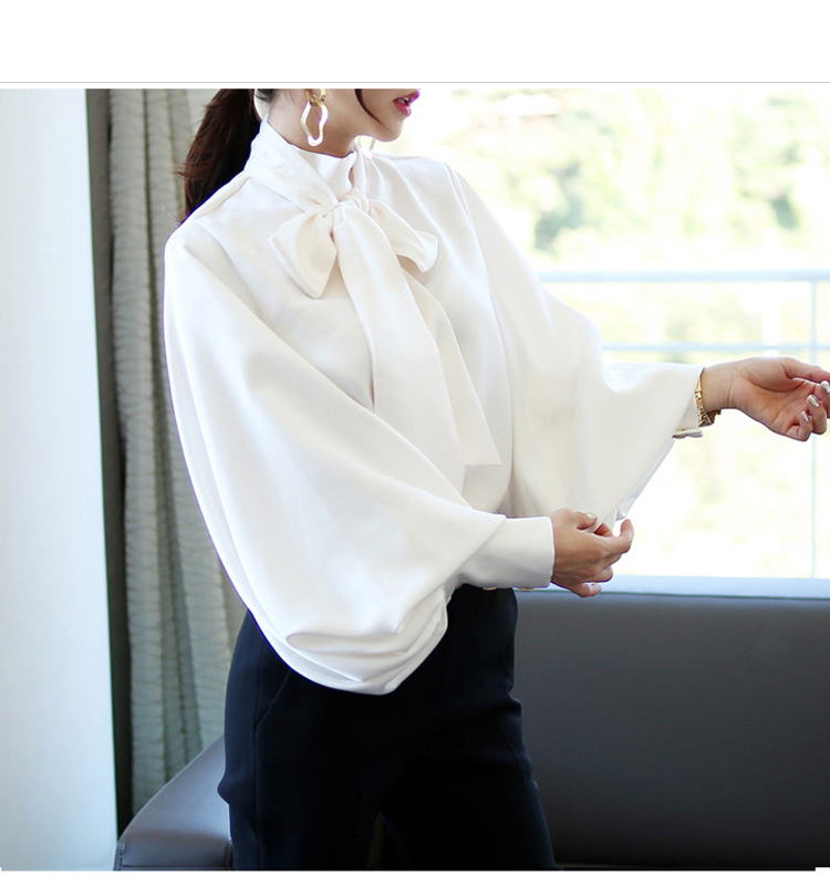 2019 Spring Women Blouse Korean Office Lady White Chiffon Long Lantern Sleeve Bow Shirt Casual Loose Stand Collar Blouse (3)