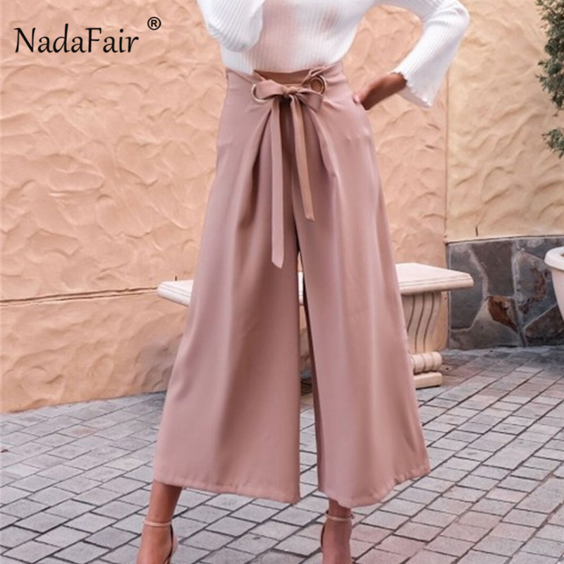 Nadafair High Waist Women   Wide     Leg     Pants   Streetwear Black Lace Up Straight Trousers Plain Elegant Ankle-Length   Pants   Female